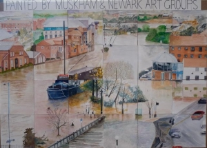 Painting of The Wharf, Newark in Flood